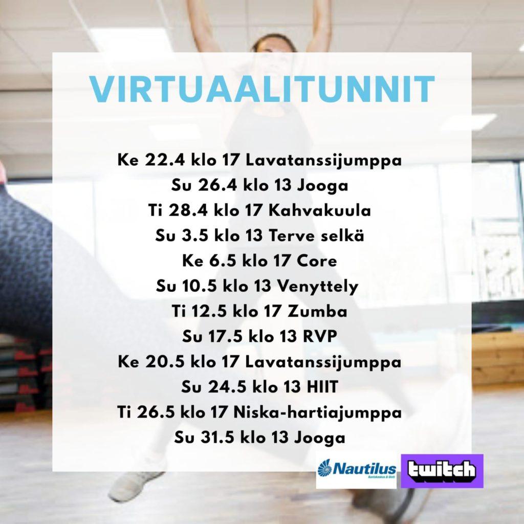 Virtuaalituntien kalenteri 31.5.2020 asti
